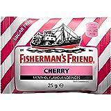 Fisherman's Friend Cherry | Karton mit 24 Beuteln | Kirsche und Menthol Geschmack | Zuckerfrei für frischen Atem