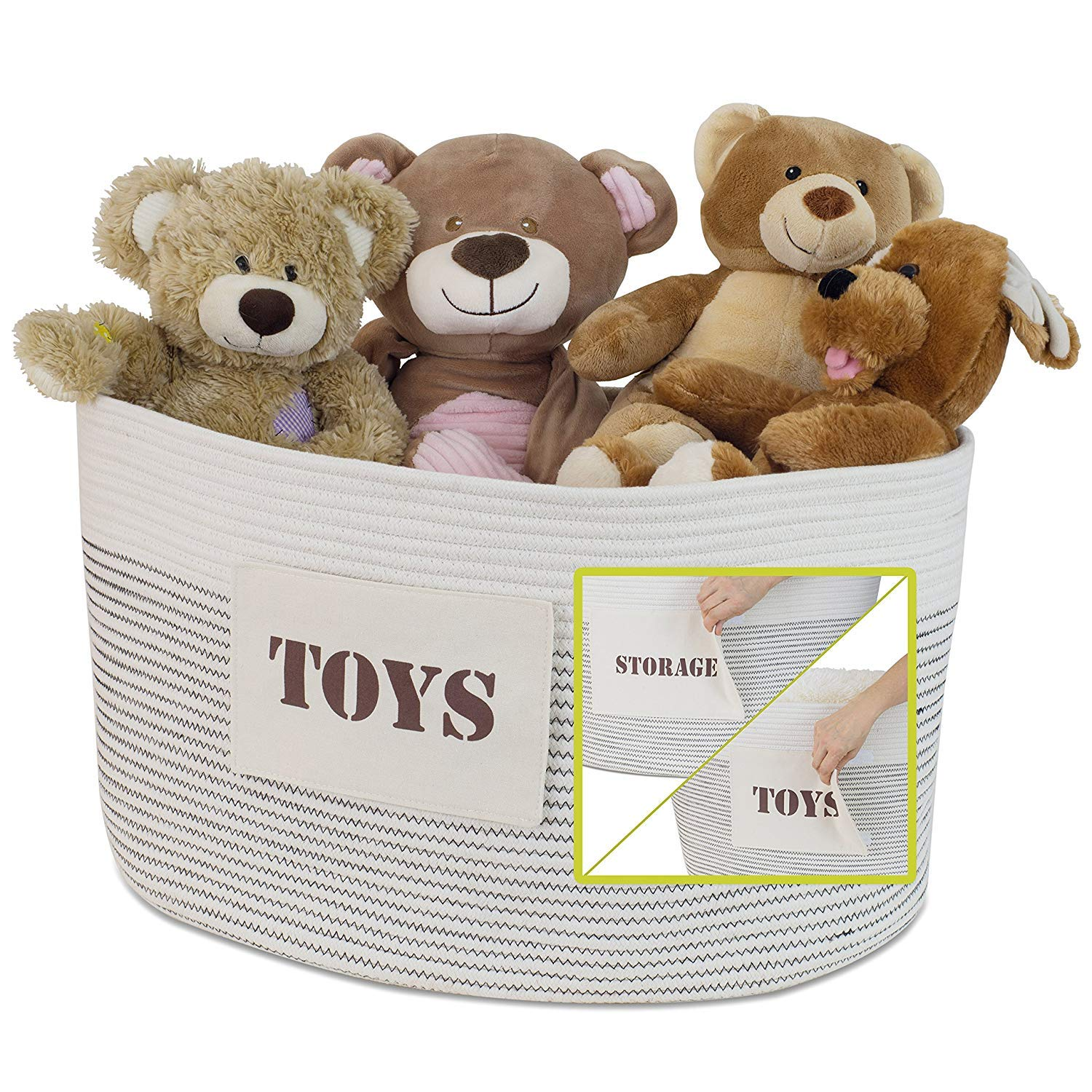 Emopeak Storage Basket - Cotton Rope with STORAGE and TOYS Labels, Beautiful Color Design, Home Decor addition for Toy Storage, Blankets, Laundry, Games by Emopeak