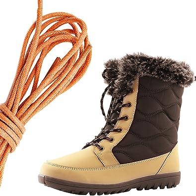 Women's Comfortable Round Toe Flat Ankle High Eskimo Winter Fur Snow Boots Orange