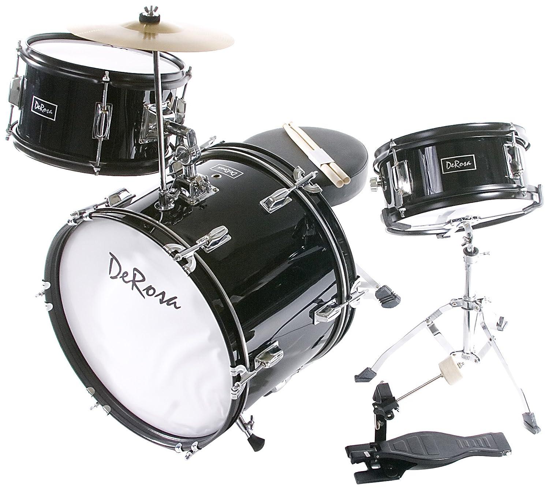 De Rosa DRM316-BK Junior 3-Piece 16-Inch Drum Set with Chair, Black BC-DRM316-BLK