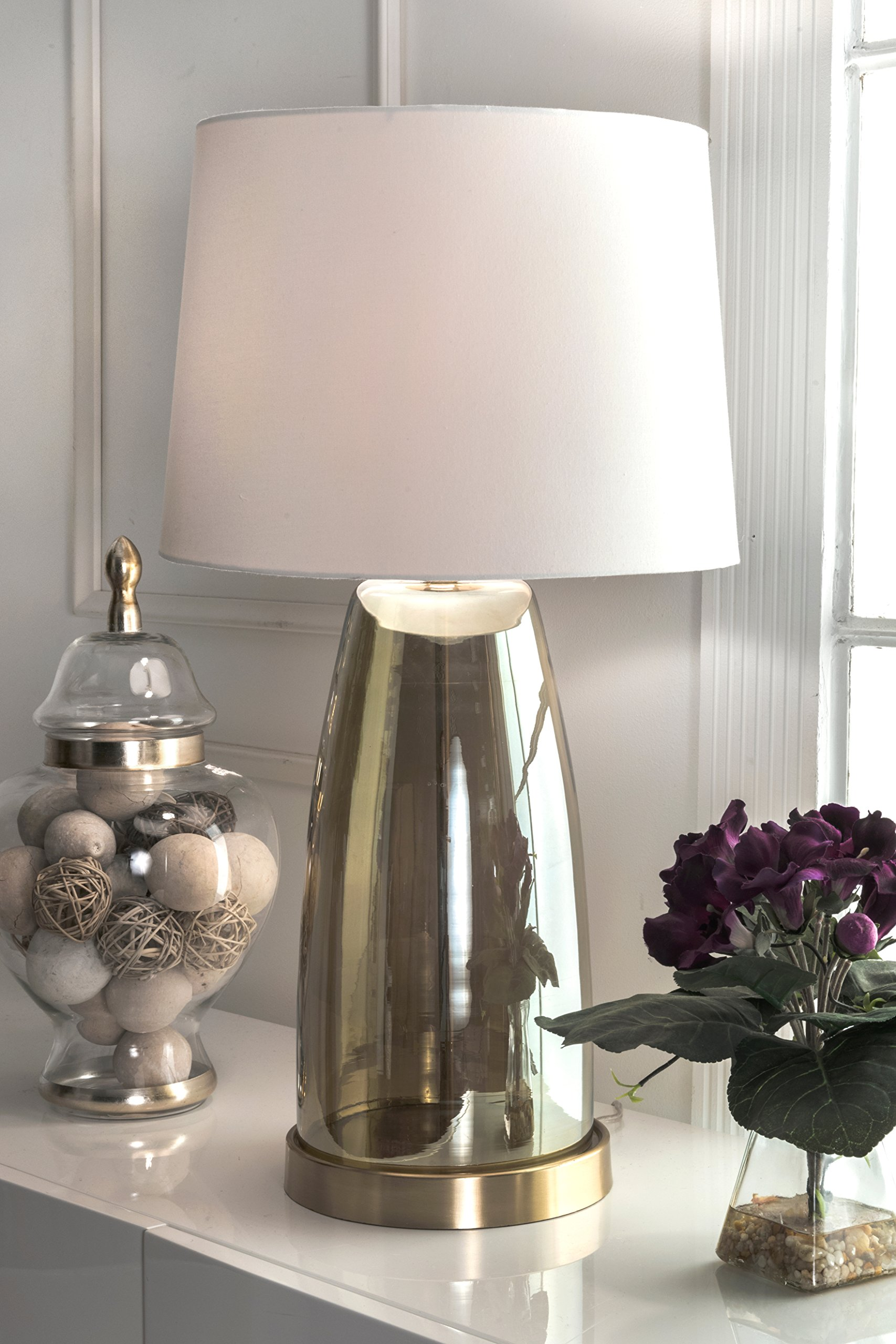 Watch Hill 28-inch Vivian Glass Cotton Shade Table Lamp