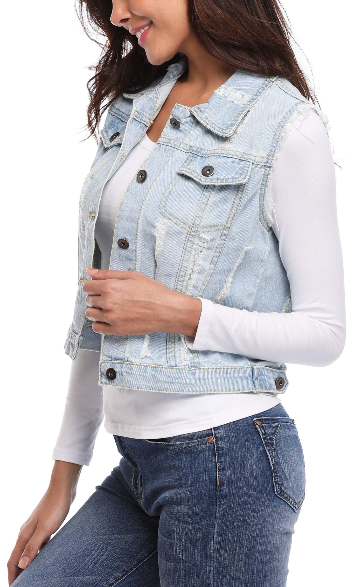 MISS MOLY Women's Sleeveless Denim Jacket Vest Turn Down Collar Buttoned Frayed Washed w 2 Chest Flap Pockets Light Blue XL by MISS MOLY (Image #6)