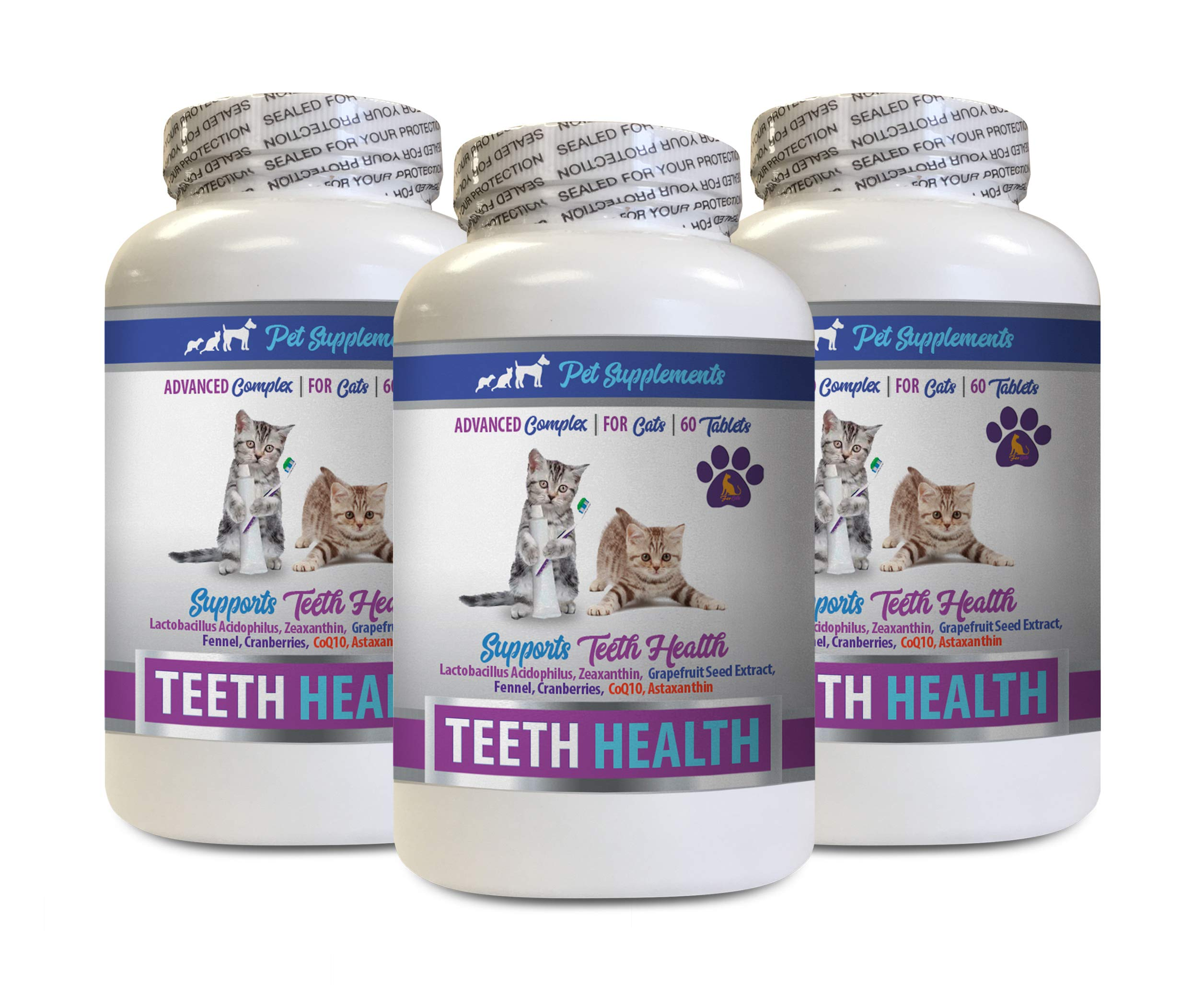 PET SUPPLEMENTS cat Dental Chews - CAT Teeth Health - Advanced Mouth Health Complex - Immune Boost - biotin for Cats - 3 Bottles (180 Tablets) by PET SUPPLEMENTS