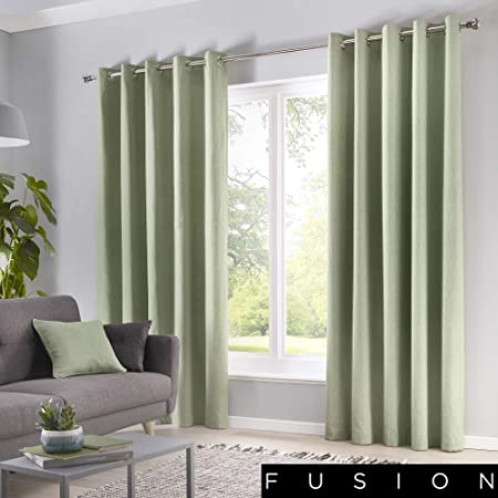 Fusion Paige Sorbonne-Cortinas algodón, 100% con Ojales, Color Verde, Forro polialgodón, W117cm (46