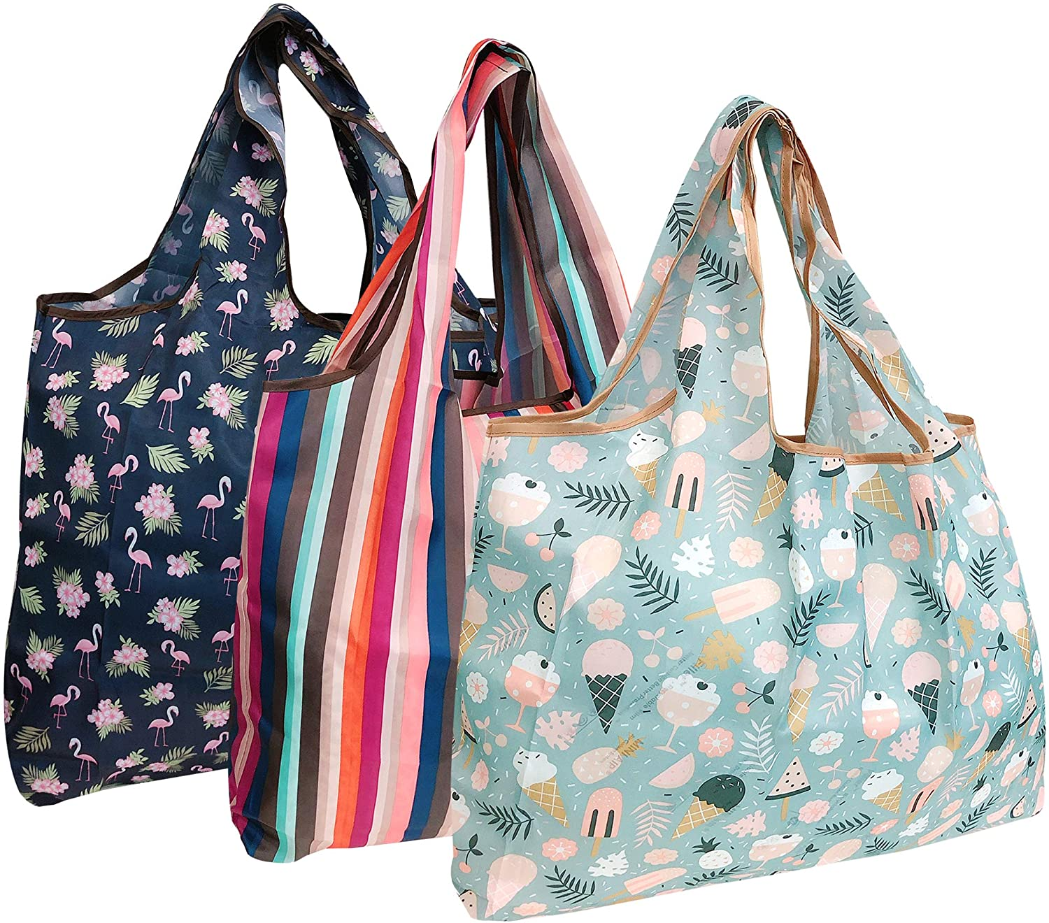 allydrew Large Foldable Tote Nylon Reusable Grocery Bag, 3 Pack, Summer Vaction