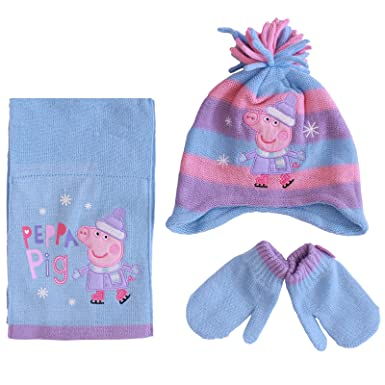 fa04aaf9bd11e Girls Peppa Pig Winter Hat Scarf Mittens Set Age 1-6 Years Blue Pink Purple  (Age 1-3 Years)  Amazon.co.uk  Clothing