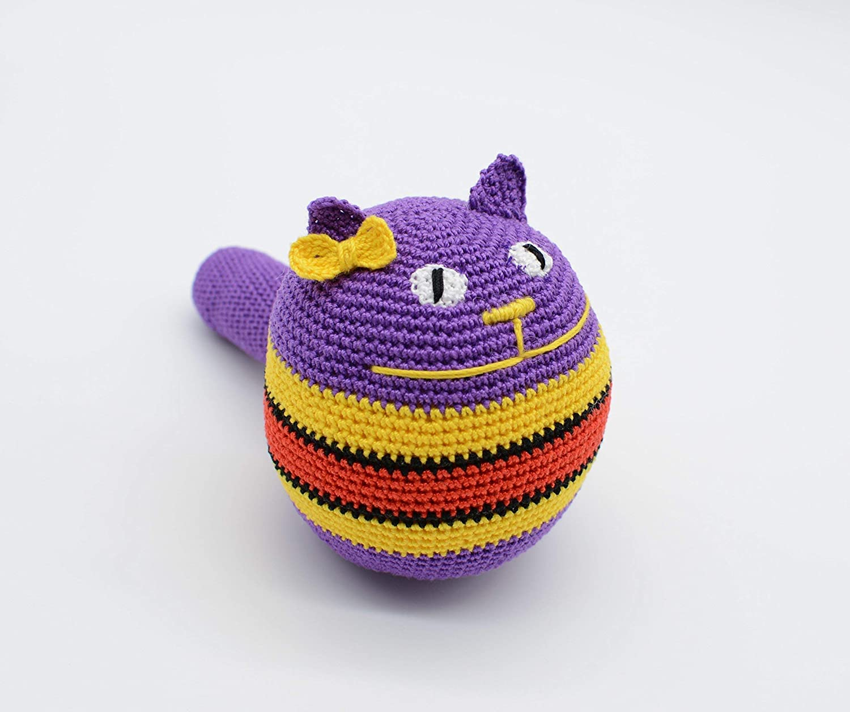 Cat stress ball, amigurumi cat toy, cute cat ball, purple cat with ... | 1256x1500