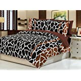 Dovedote Cotton Brown Black Giraffe Animal Print Bedspread with Brown Sheet Set, Queen, Reversible, 7 Piece
