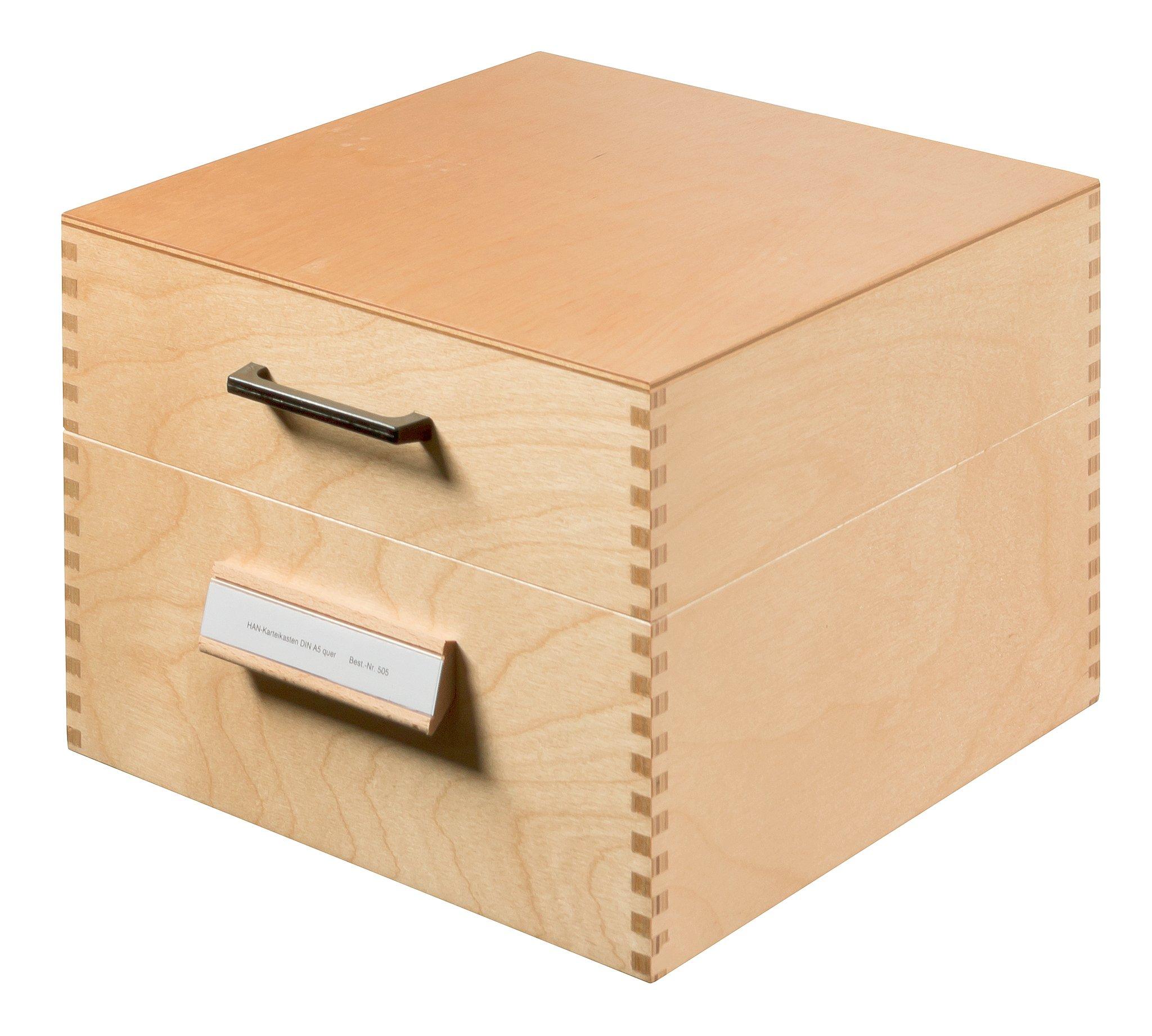 Han 505 Card Index Box A5 Wooden 255 x 250 x 190 mm Natural Colour