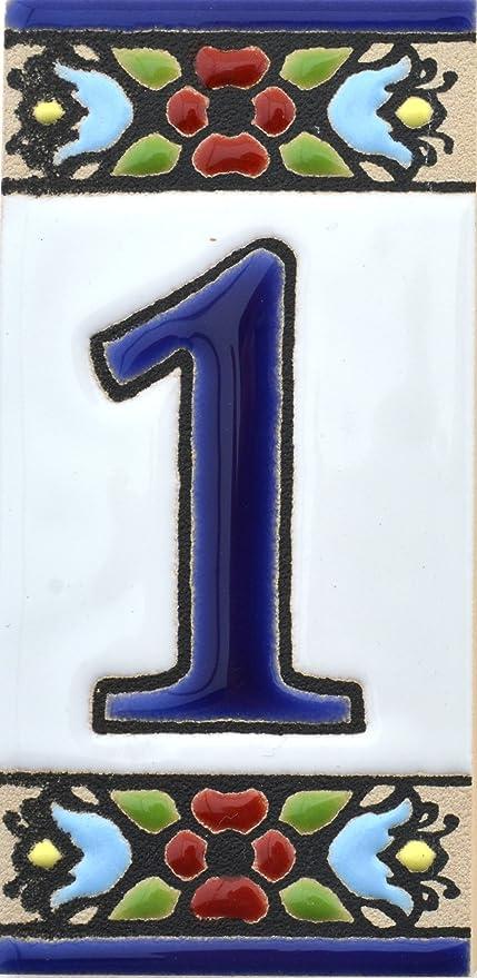 """Imagen deART ESCUDELLERS Números casa. Numeros y Letras en azulejo Ceramica policromada, Pintados a Mano técnica Cuerda Seca. Nombres y direcciones. Diseño Flores Mini 7,3 cm x 3,5 cm. (Numero UNO 1"""")"""