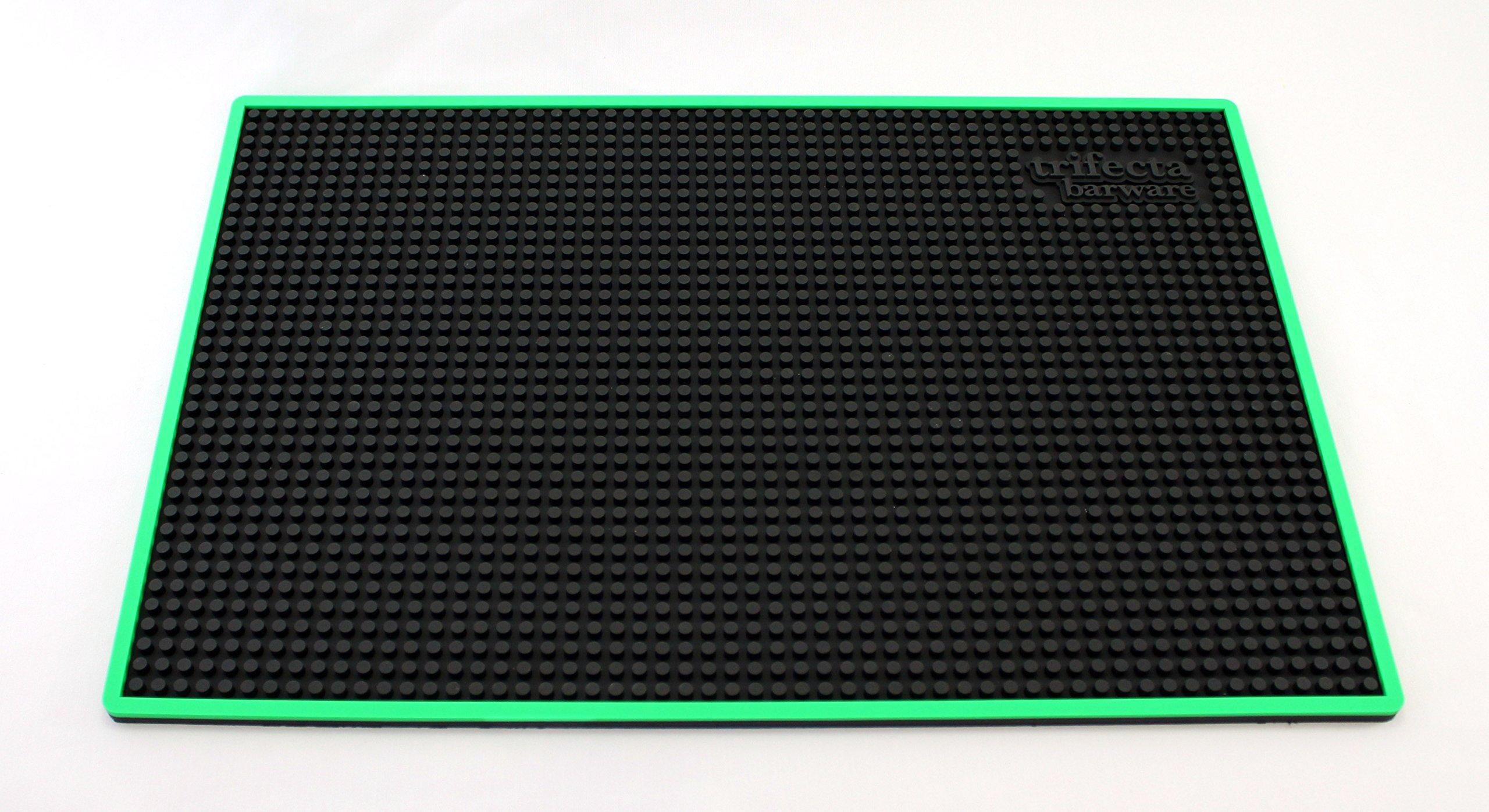 Trifecta Barware 18 X 12 Inch Bar Mat | Service and Spill Mat | Black with Green Edge
