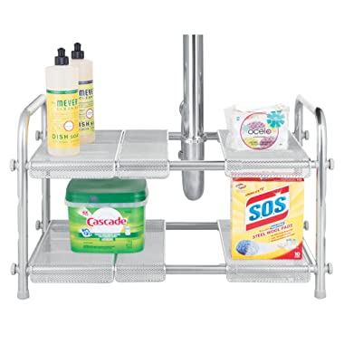 mDesign 2-Tier Under Kitchen Sink Organizer with Expandable Shelf - Silver