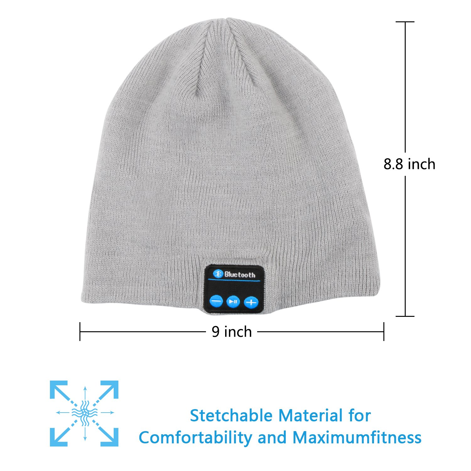 Dolida Bluetooth Wireless Music Beanie Hat Women Men Winter Knitted Hat Trendy Cap with Microphone & Stereo Headphones Headset for Sport Running Dancing, Best Christmas Gift Grey