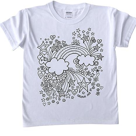 T Shirt Per Bambini Da Colorare Arcobaleno Di Design Dimensioni