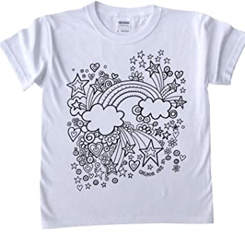 t shirts for kids to colour in printed outline kids craft rainbow design - Rainbow Picture To Colour