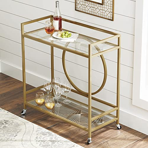 Better Homes and Gardens Luxurious Style Nola Bar Cart, Gold, Pack of 2