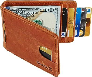 MENS GENUINE LEATHER SPRING MONEY CLIP MENS WALLET BIFOLD ID Credit Card Slim