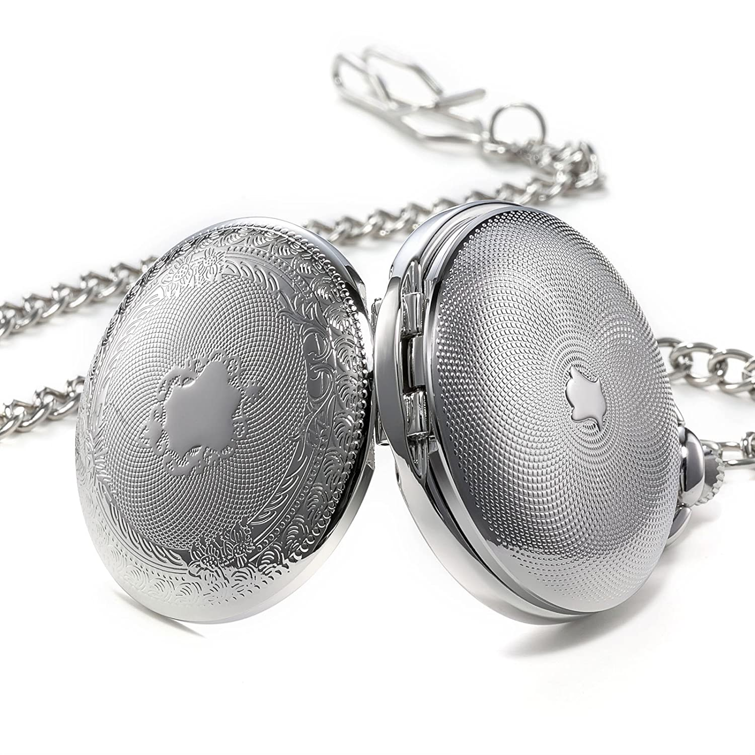 Amazon.com: TREEWETO Double Open Skeleton Pocket Watch Mechanical Hand Wind Full Hunter Silver Fob Watch: Watches