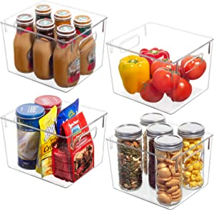 4 Pack Refrigerator Organizer Bins - Large Plastic Clear Pantry Organization and Storage Bins with Handles, Freezer Food Storage Containers for Fridge, Cabinet, Kitchen, Bathroom, Countertop, Office
