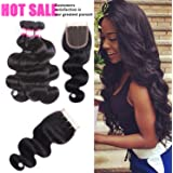 8A (16 18 20 with14 closure Natural Color) brazilian body wave with closure Brazilian Virgin Body Wave Hair 3 Bundles with Three Part Closure 100% Unprocessed Human HaIr Bundles Very Soft