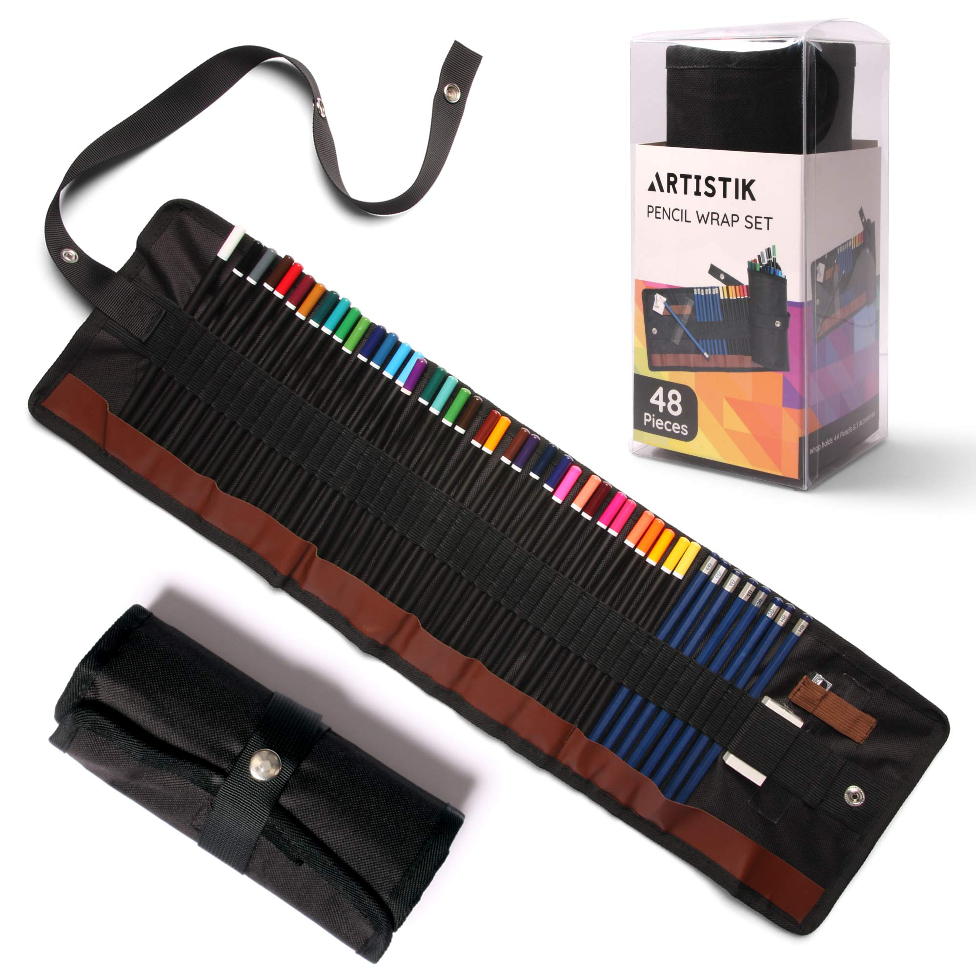 Colored Pencil Set - (47 Pieces) Vivid 3.5 mm Artist Grade Drawing & Sketching Colored Pencils for Adults, Ideal for Coloring Books, Watercolor, Professional Sketching Pencils and Travel Wrap Case by Artistik