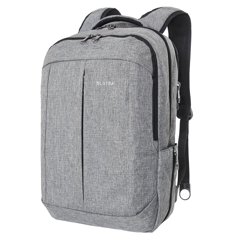 """SLOTRA Zaino per Laptop da 17"""" per Uomo e Donna Viaggi Zaino Scuola Borsa Casual Anti Furto Leggero Grigio"""