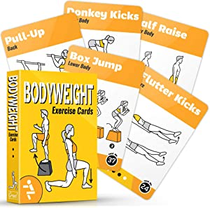 GRAND BASICS Bodyweight Workout Cards Deck – Perfect Large Size Bodyweight Exercise Cards for Home or Travel – Fitness Cards Includes 50 Different Exercises with Bonus Cards