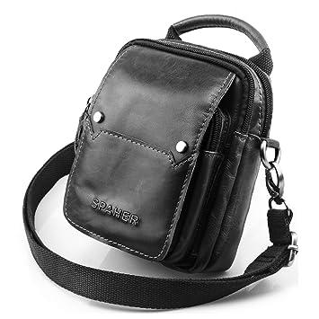 SPAHER Mens Genuine Leather Waist Bag Cross Body Bag Messenger Shoulder Bag  Handbag Mobile Phone Small 52bb4496cf4fa
