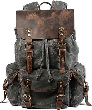 Large Durable Canvas Laptop Backpack School Bag Daypack Outdoor Travel Bag