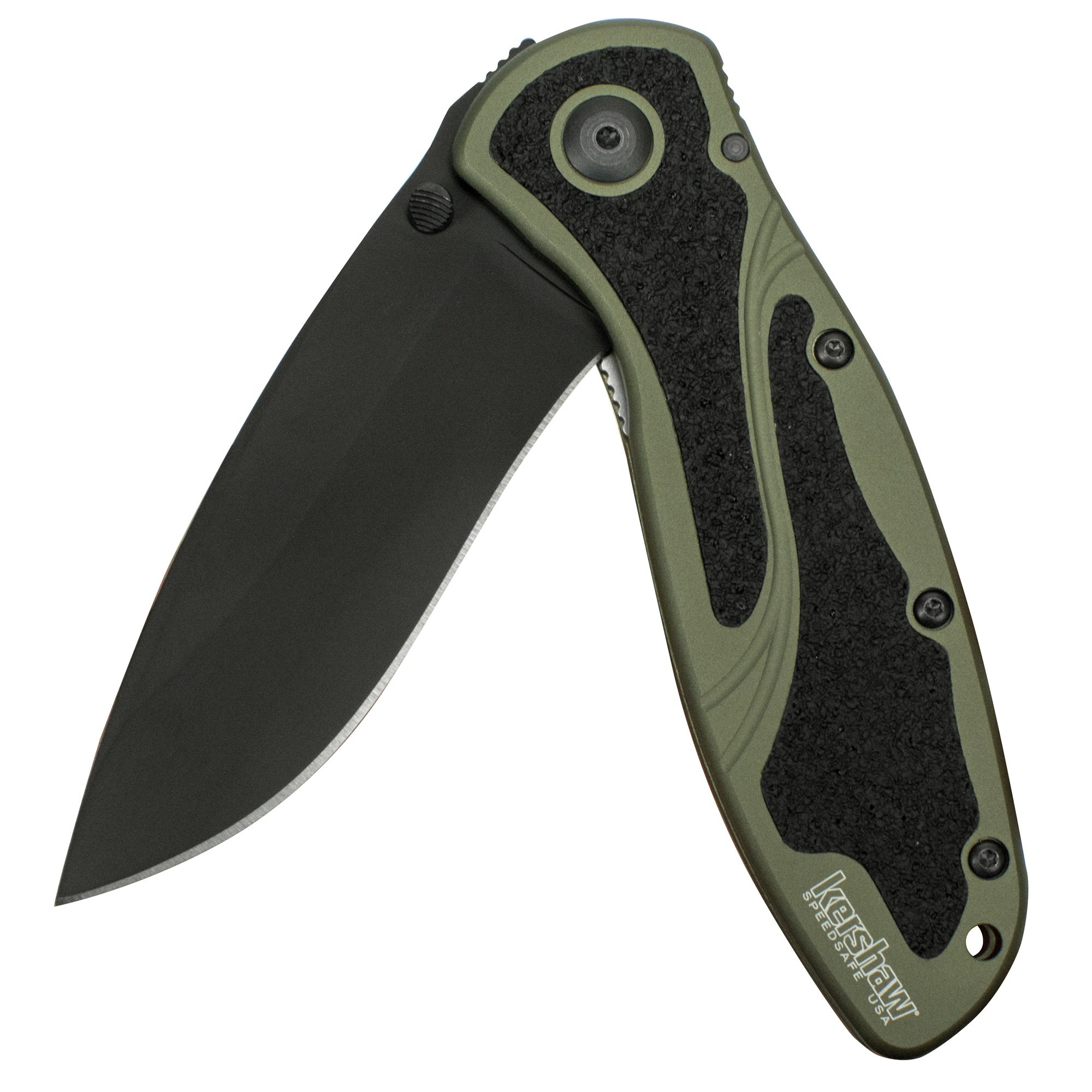 """Kershaw Blur, Olive/Black (1670OLBLK); with 3.4"""" Black DLC-Coated 14C28N Steel Blade, Olive Anodized Aluminum Handle with Black Trac-Tec Inserts, SpeedSafe Opening and Reversible Pocketclip; 3.9 OZ"""
