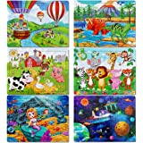 Puzzles for Kids Ages 3-8, Apfity 60 Pieces Wooden Jigsaw Puzzles Preschool Educational Learning Toys Set for 3 4 5 Years Old
