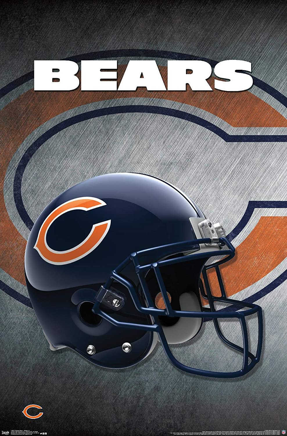 "Trends International Chicago Bears Helmet Wall Poster 22.375"" x 34"""