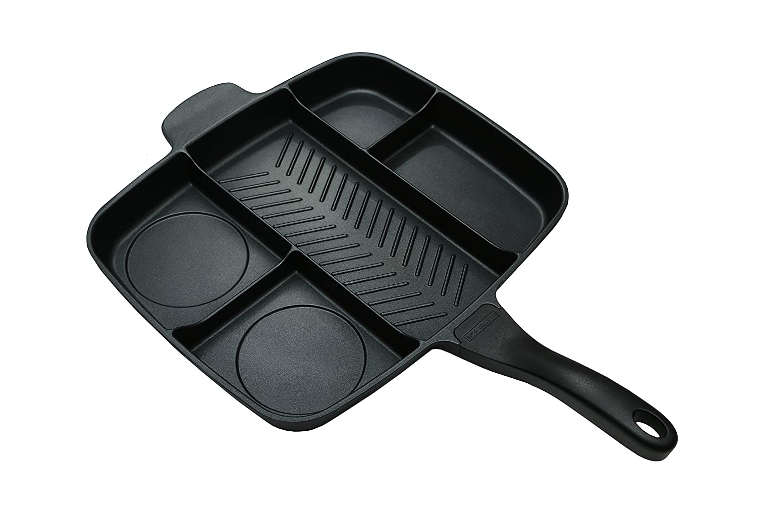 "Master Pan Non-Stick Divided Grill/Fry/Oven Meal Skillet, 15"", Black"