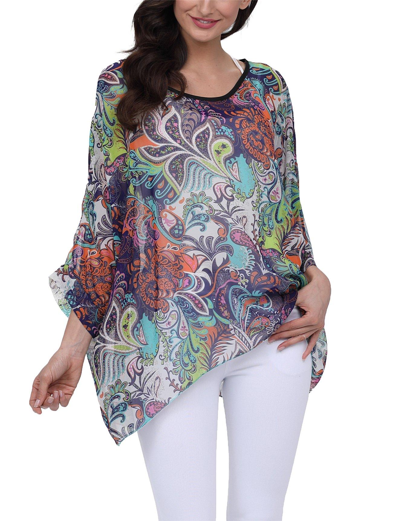 DearQ Women Batwing Chiffon Shirt Bohemian Floral Semi Sheer Loose Blouse Tunic Tops 4284