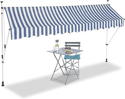 Relaxdays, Azul y Blanco, Toldo de Vela, Protección Solar ...