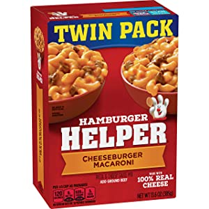 Betty Crocker Dry Meals Hamburger Helper Pasta and Cheesy Sauce Mix Cheeseburger Macaroni, 13.6 Ounce