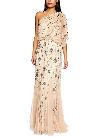 86faa1db Amazon.com: Adrianna Papell Women's One Shoulder Beaded Blouson Dress:  Clothing