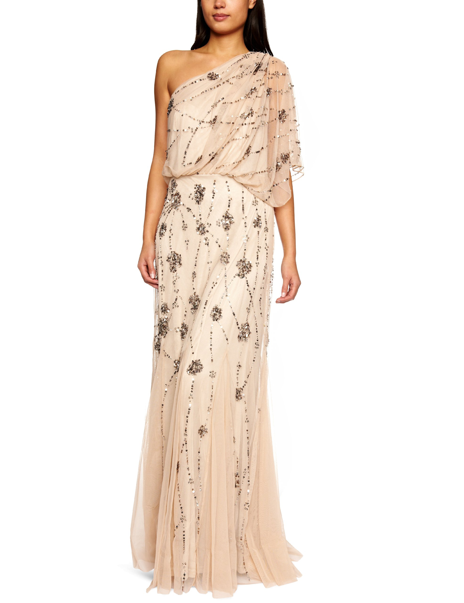 Adrianna Papell Women's One Shoulder Beaded Blousant Dress, Nude, 14