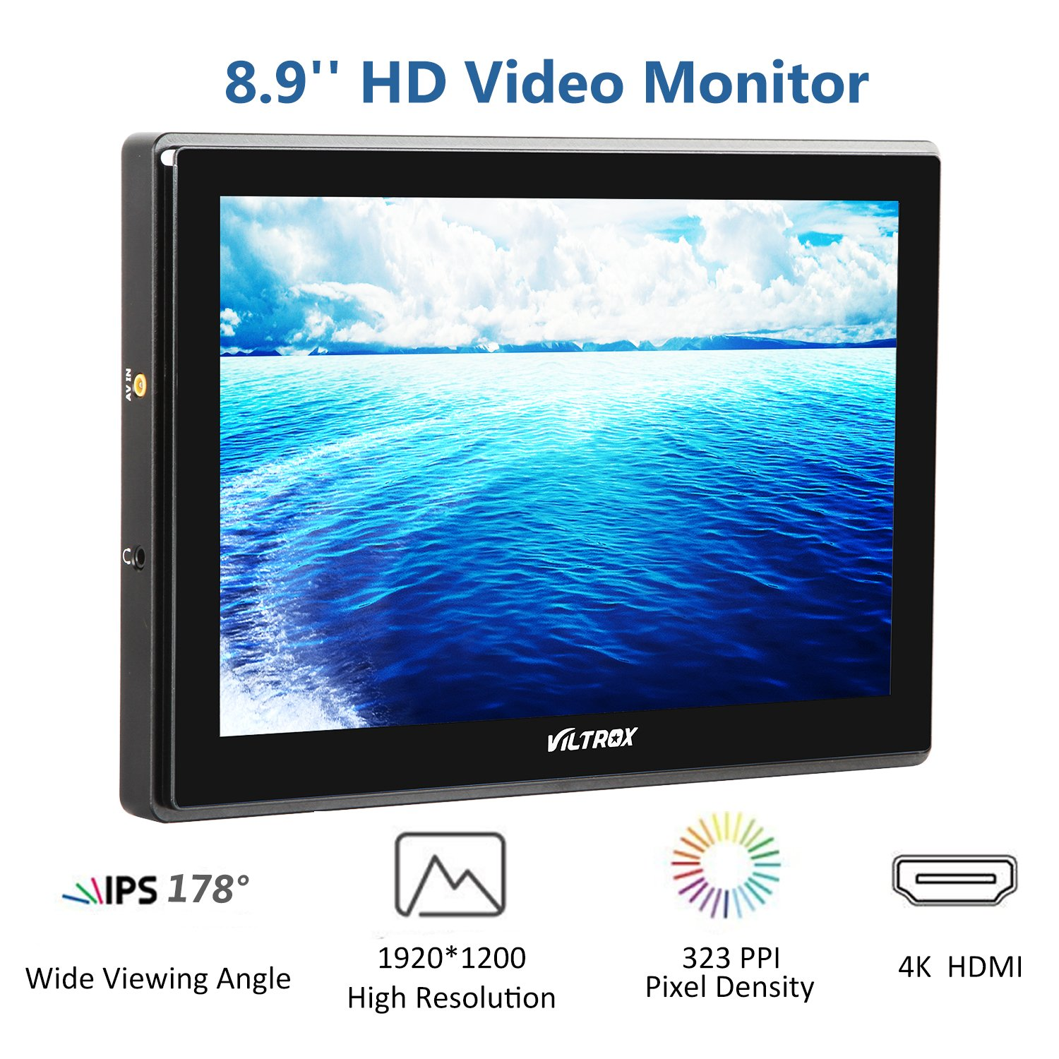 VILTROX DC-90HD 4K HDMI Monitor Full HD 1920x1200 IPS 8.9'' Clip-on LCD Camera Video Monitor Display HDMI AV Input for Canon Nikon DSLR BMPCC, Battery with Charger(Included) ... by VILTROX (Image #2)