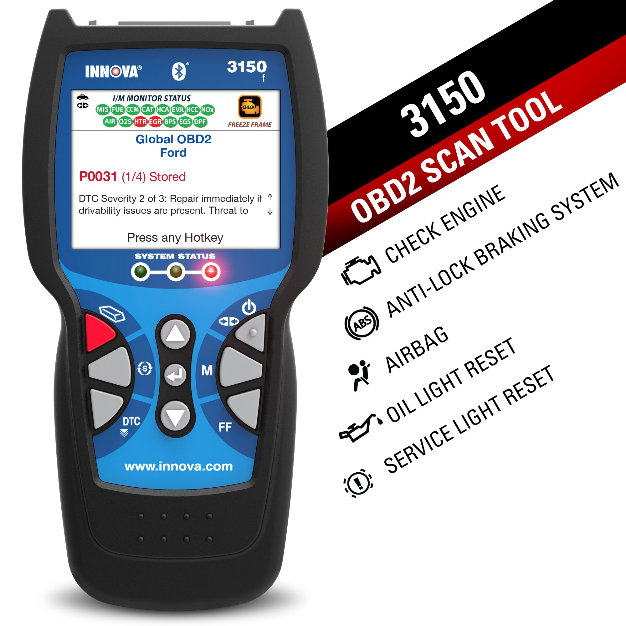 Innova Color Screen 3150f Code Reader/Scan Tool with ABS/SRS and Bluetooth for OBD2 Vehicles by Innova (Image #2)