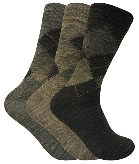 3 Pack Mens Thin Warm Lambs Wool Blend Argyle Patterned Hiking Crew Socks (7-