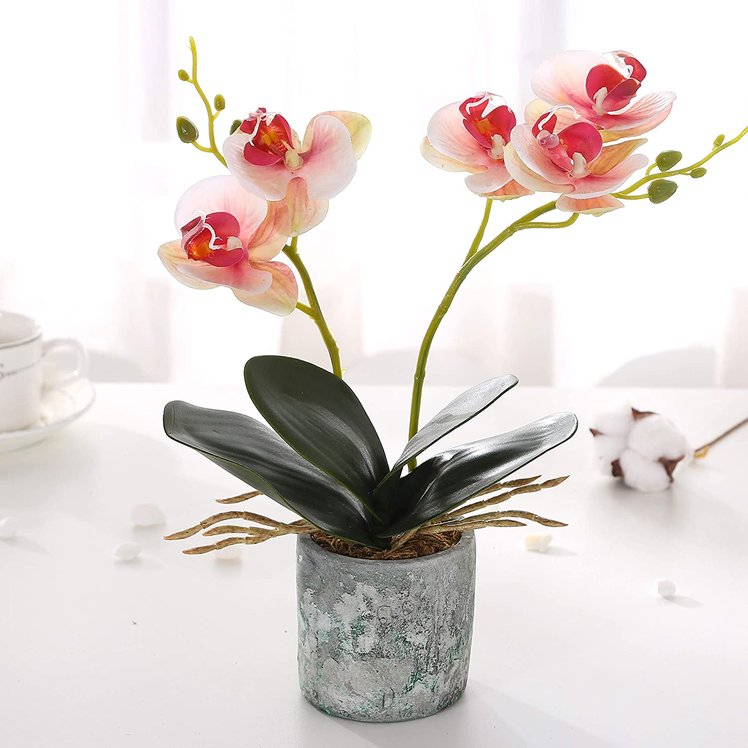 KINBEDY Artificial Bonsai Silk Orchids Phalaenopsis with Vase Home Office Decoration Party Wedding Decor,Pink.