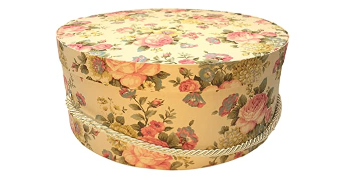 Large Hat Box In Yellow Floral, Large Decorative Fabric Covered Hat Boxes,  Round Storage