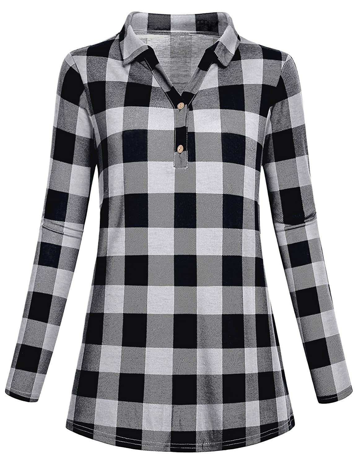 c86355fd68f9a Cestyle Women s Collared Roll-Up 3 4 Sleeve Casual Loose Lightweight Knit  Polo Plaid Shirt at Amazon Women s Clothing store