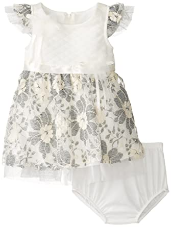 Amazon Bonnie Baby Girls Quilted Knit To Embroidered Lace