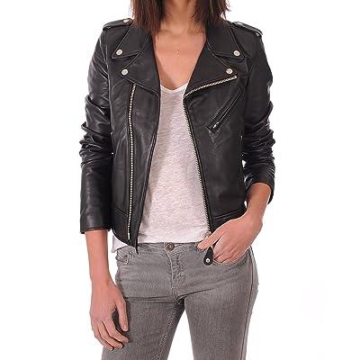 LEATHER FARM Women's Lambskin Leather Bomber Biker Jacket at Women's Coats Shop