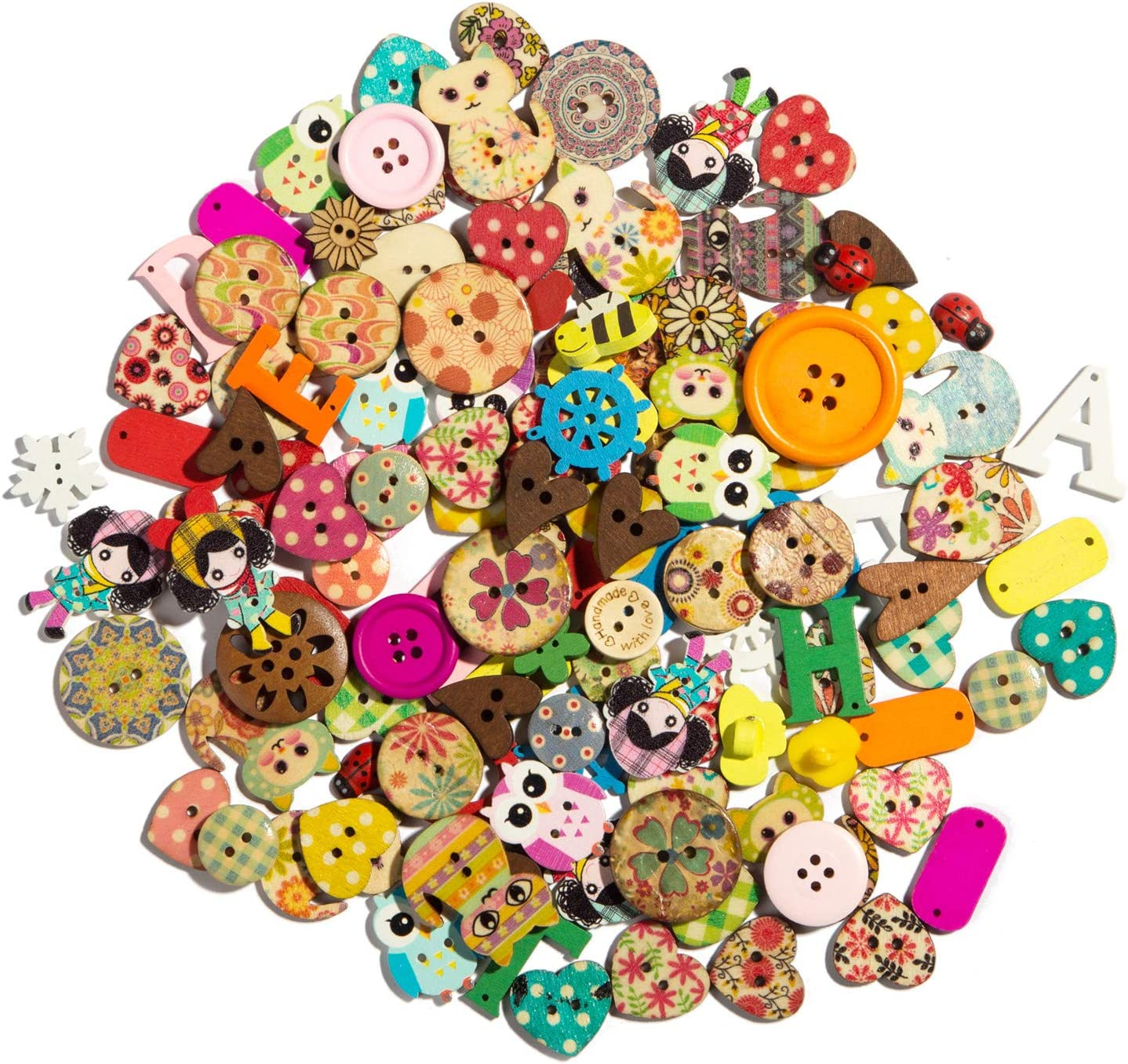 Wooden Buttons Round Cat Bear pattern Sewing scrapbooking Crafts 15mm
