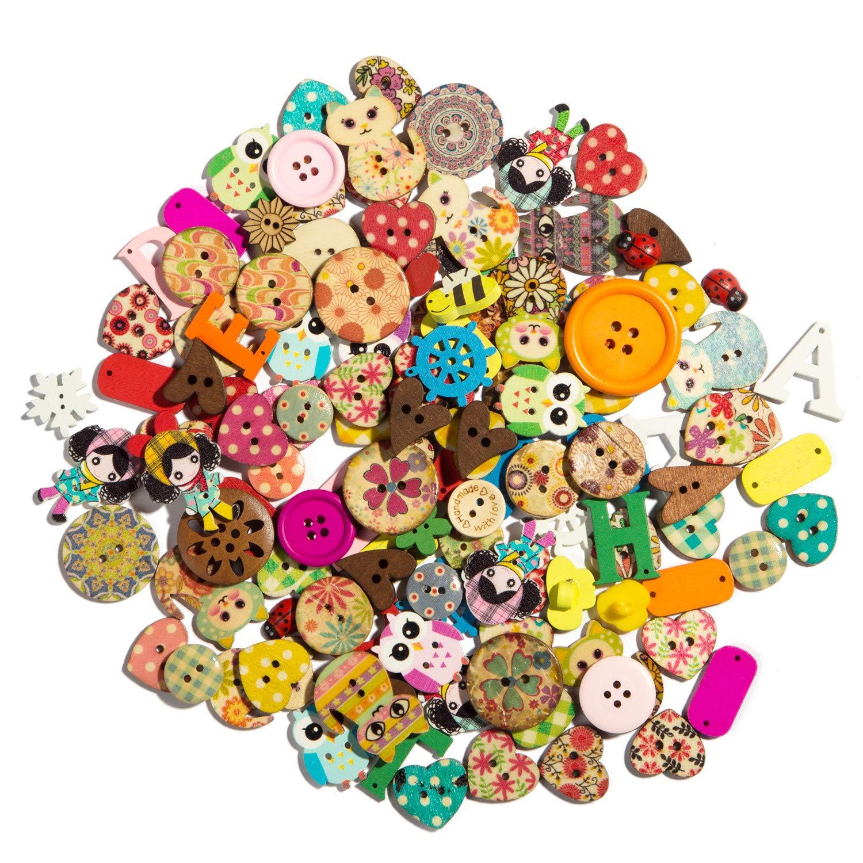 Cutedream 50pcs Mixed Wooden Buttons in Bulk Painting Buttons for Crafts Button Buttons Painting Butterfly Bu-178 by mahaohao