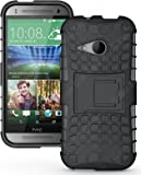 Heartly Flip Kick Stand Spider Hard Dual Armor Hybrid Bumper Back Case Cover For HTC One M8 Mini - Best Black