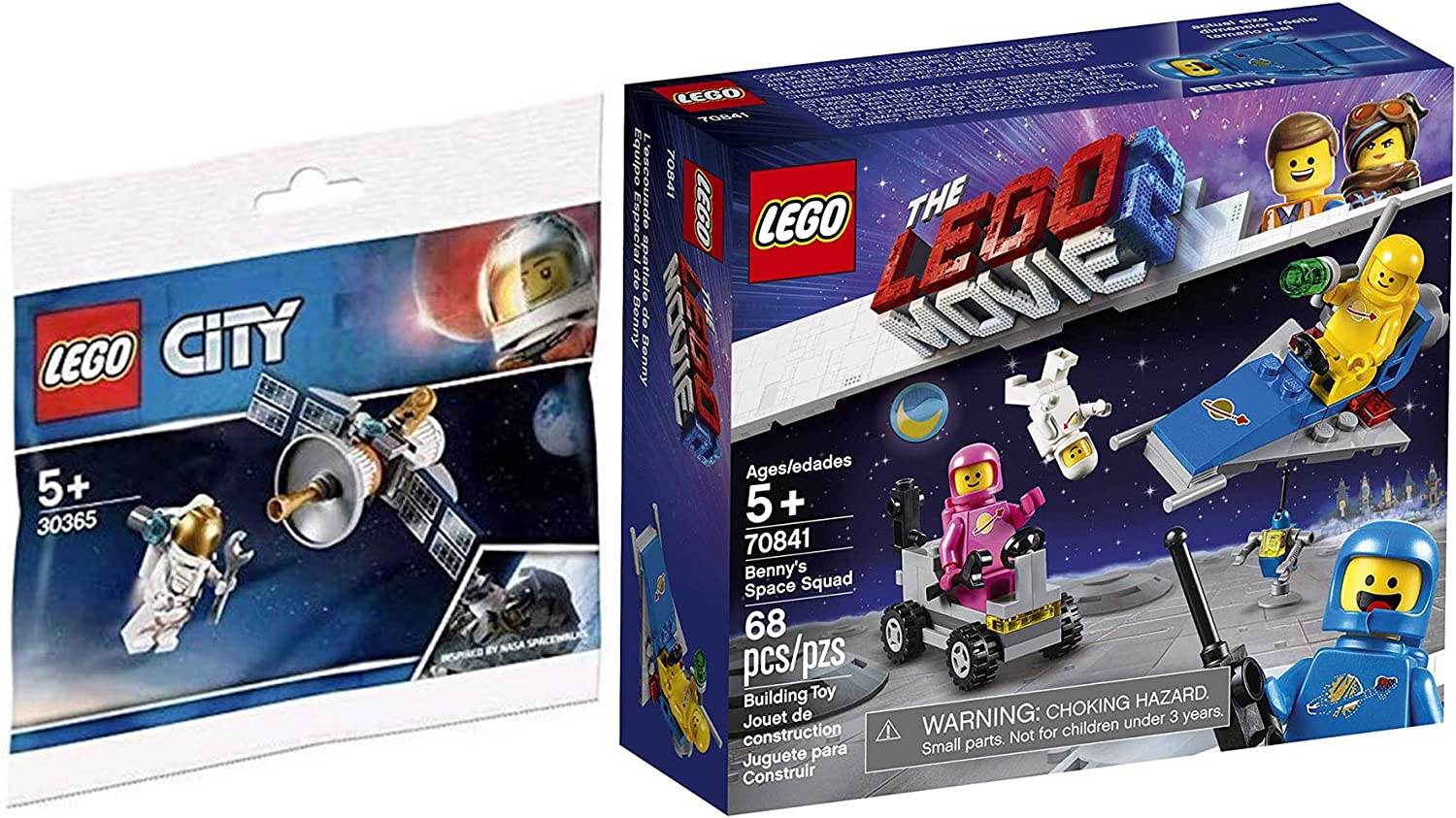 LEGO City Movie Space Set Benny's Squad 70841 Bundled 30365 Satellite Inspired by NASA Spacewalks polybag 2 Items